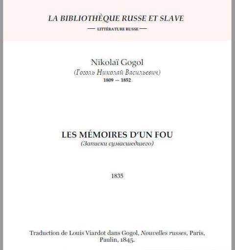 """Gogol, """"Les mémoires d'un fou"""", Ed. Bibliothèque russe et slave (capture)."""