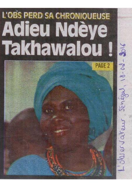 Une du journal sénégalais L'Observateur du 18 février 2016. (Photo : Coumba Sylla)