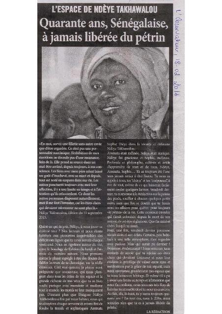 Dans le journal sénégalais L'Observateur du 18 février 2016. (Photo : Coumba Sylla)