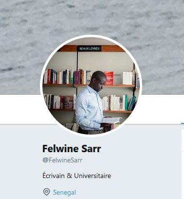 (Capture du profil de Felwine Sarr sur Twitter)