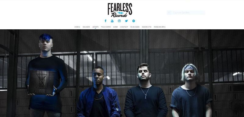 (Capture d'écran : site officiel de Fearless Records)