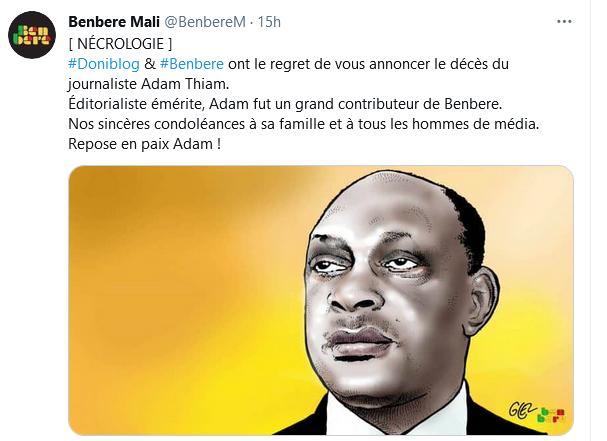 Capture d'écran d'un tweet du site Benbere annonçant le décès du journaliste émérite malien Adam Thiam.