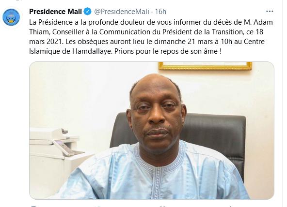 Capture d'écran d'un tweet de la présidence du Mali annonçant le décès du journaliste émérite malien Adam Thiam.